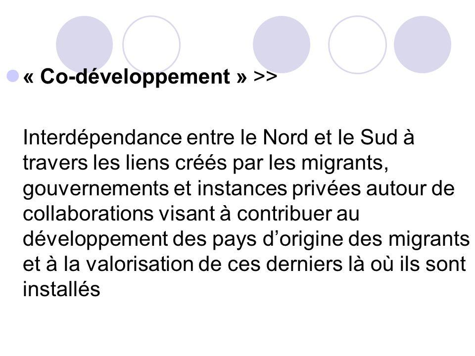 « Co-développement » >> Interdépendance entre le Nord et le Sud à travers les liens créés par les migrants, gouvernements et instances privées autour