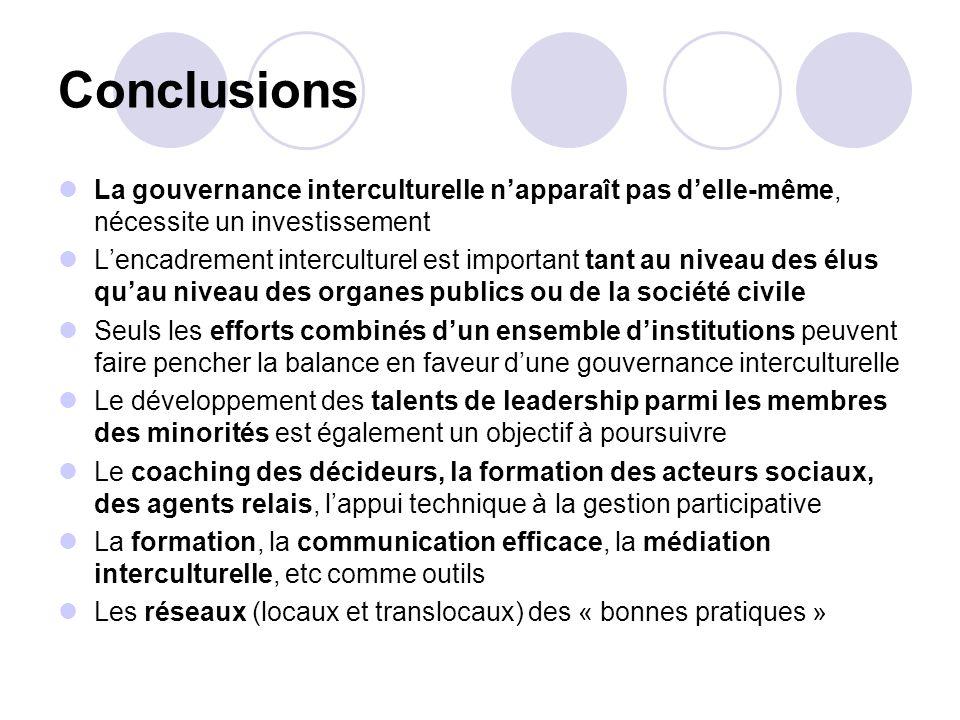 Conclusions La gouvernance interculturelle napparaît pas delle-même, nécessite un investissement Lencadrement interculturel est important tant au nive