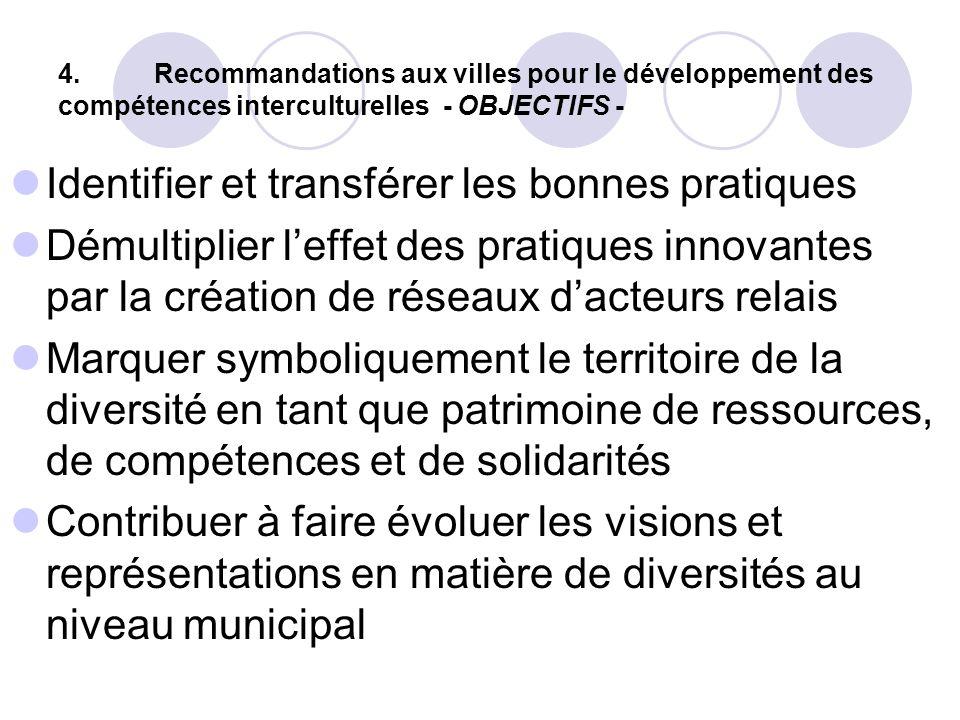 4.Recommandations aux villes pour le développement des compétences interculturelles - OBJECTIFS - Identifier et transférer les bonnes pratiques Démult