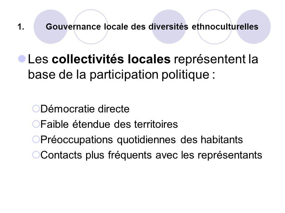 1.Gouvernance locale des diversités ethnoculturelles Les collectivités locales représentent la base de la participation politique : Démocratie directe