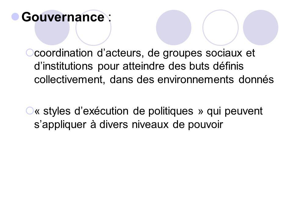 Gouvernance : coordination dacteurs, de groupes sociaux et dinstitutions pour atteindre des buts définis collectivement, dans des environnements donné