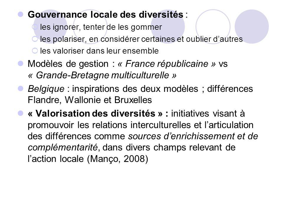 Gouvernance locale des diversités : les ignorer, tenter de les gommer les polariser, en considérer certaines et oublier dautres les valoriser dans leu