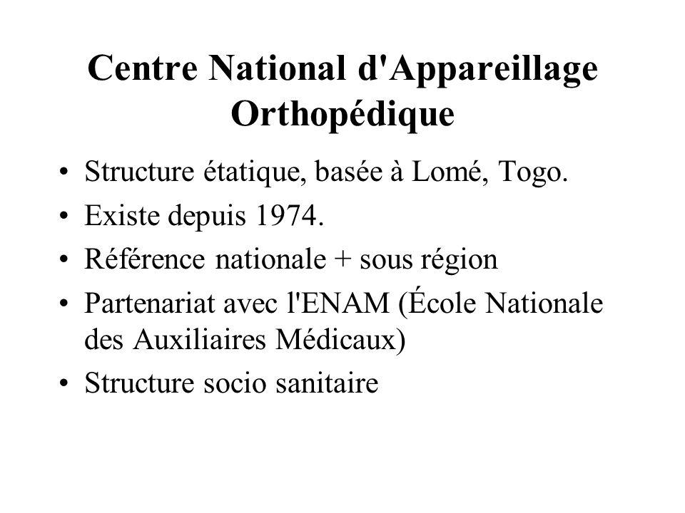 Centre National d'Appareillage Orthopédique Structure étatique, basée à Lomé, Togo. Existe depuis 1974. Référence nationale + sous région Partenariat