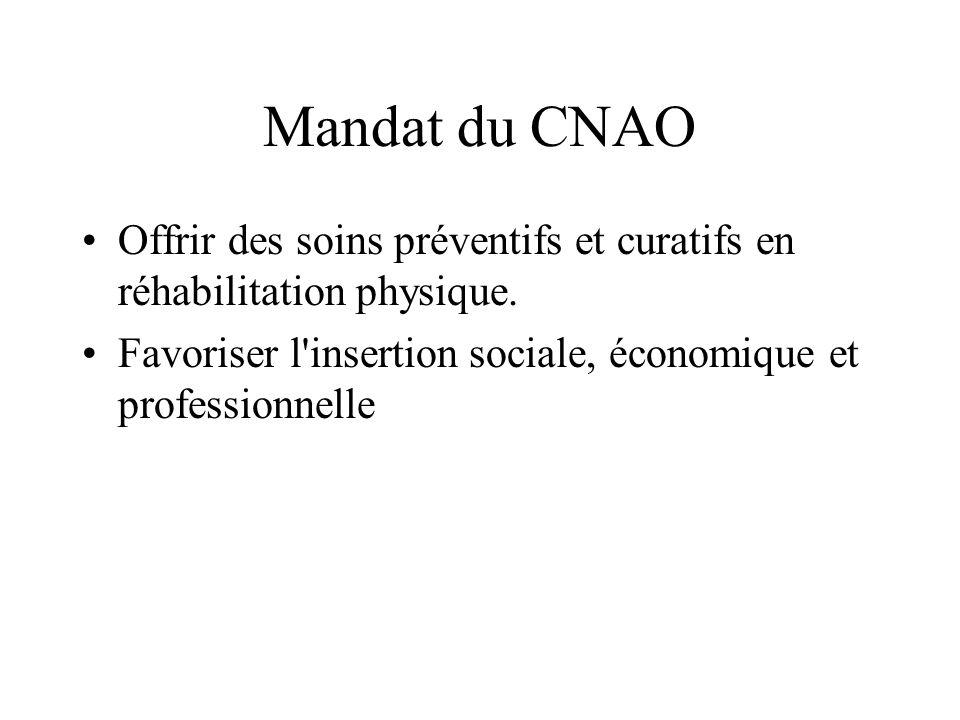 Mandat du CNAO Offrir des soins préventifs et curatifs en réhabilitation physique. Favoriser l'insertion sociale, économique et professionnelle