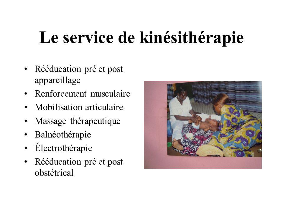 Le service de kinésithérapie Rééducation pré et post appareillage Renforcement musculaire Mobilisation articulaire Massage thérapeutique Balnéothérapi