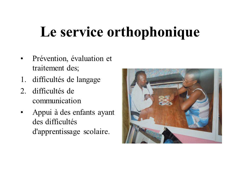 Le service orthophonique Prévention, évaluation et traitement des; 1.difficultés de langage 2.difficultés de communication Appui à des enfants ayant d