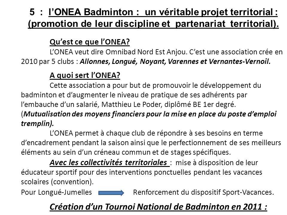 Quest ce que lONEA? LONEA veut dire Omnibad Nord Est Anjou. Cest une association crée en 2010 par 5 clubs : Allonnes, Longué, Noyant, Varennes et Vern
