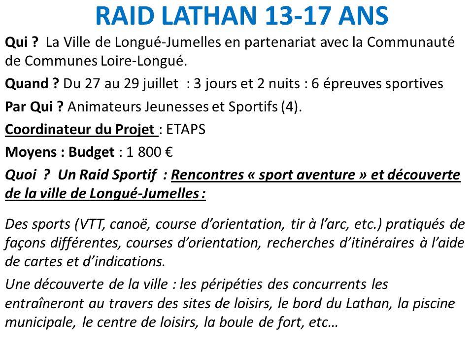 RAID LATHAN 13-17 ANS Qui ? La Ville de Longué-Jumelles en partenariat avec la Communauté de Communes Loire-Longué. Quand ? Du 27 au 29 juillet : 3 jo
