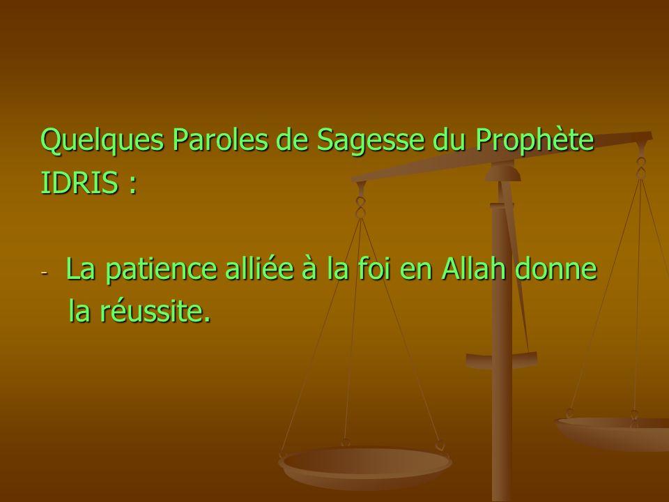 Quelques Paroles de Sagesse du Prophète IDRIS : - La patience alliée à la foi en Allah donne la réussite. la réussite.