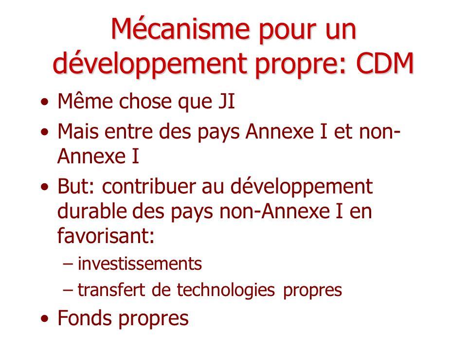 Mécanisme pour un développement propre: CDM Même chose que JI Mais entre des pays Annexe I et non- Annexe I But: contribuer au développement durable d
