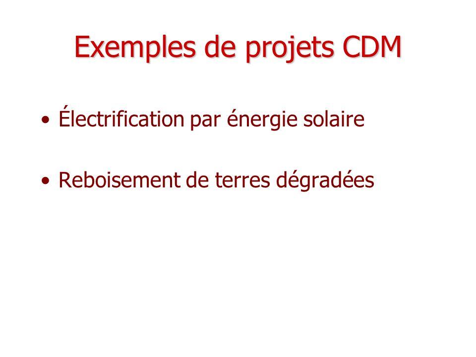 Exemples de projets CDM Électrification par énergie solaire Reboisement de terres dégradées