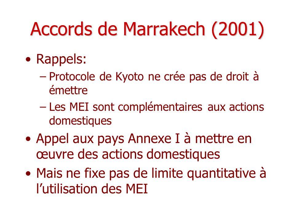 Accords de Marrakech (2001) Rappels: –Protocole de Kyoto ne crée pas de droit à émettre –Les MEI sont complémentaires aux actions domestiques Appel au