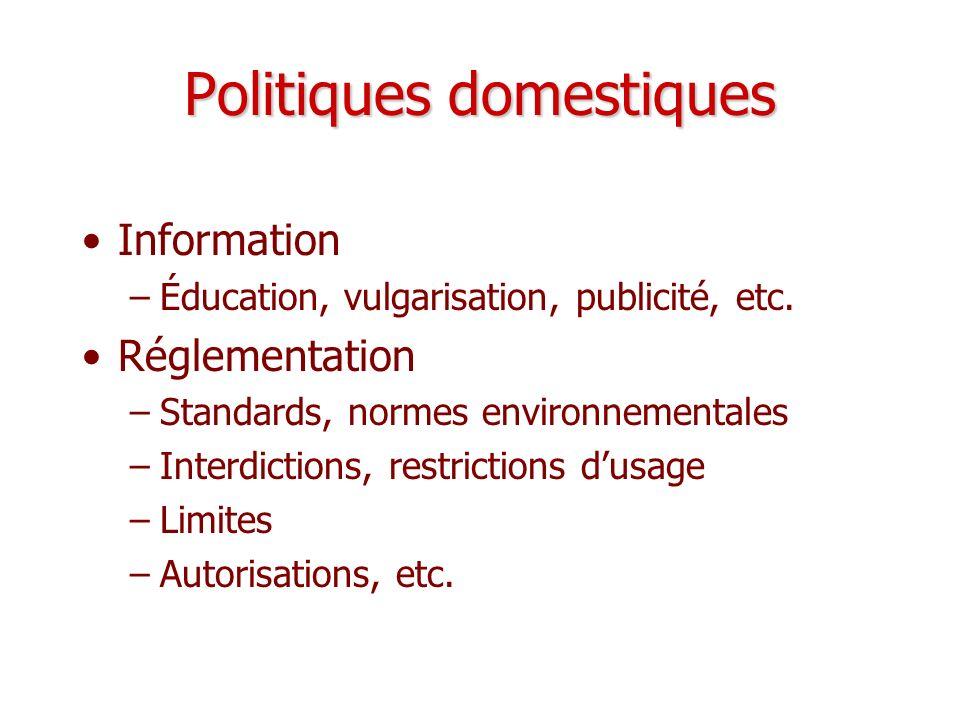Politiques domestiques Information –Éducation, vulgarisation, publicité, etc. Réglementation –Standards, normes environnementales –Interdictions, rest