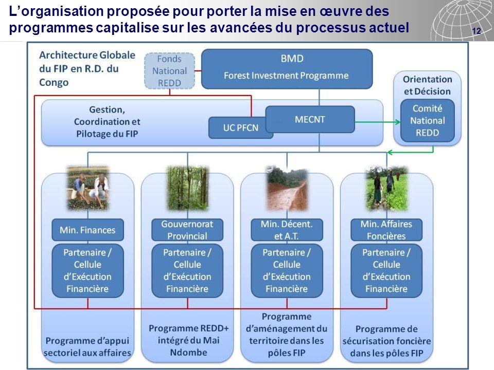 12 Lorganisation proposée pour porter la mise en œuvre des programmes capitalise sur les avancées du processus actuel