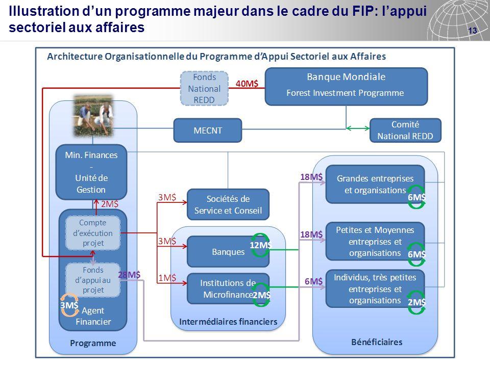 13 Illustration dun programme majeur dans le cadre du FIP: lappui sectoriel aux affaires