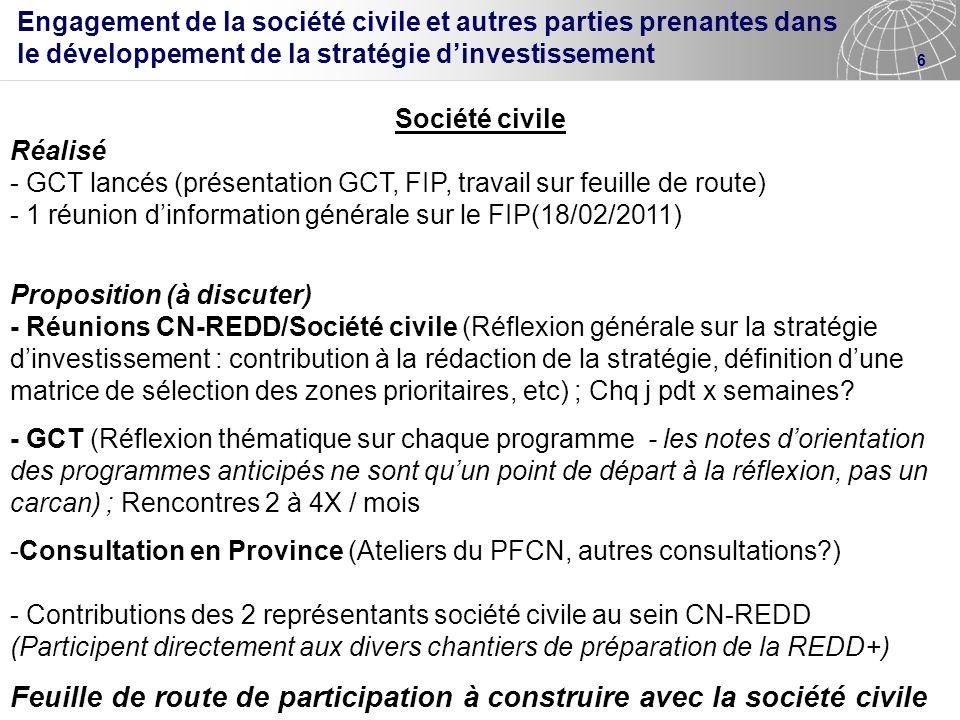 6 Société civile Réalisé - GCT lancés (présentation GCT, FIP, travail sur feuille de route) - 1 réunion dinformation générale sur le FIP(18/02/2011) P