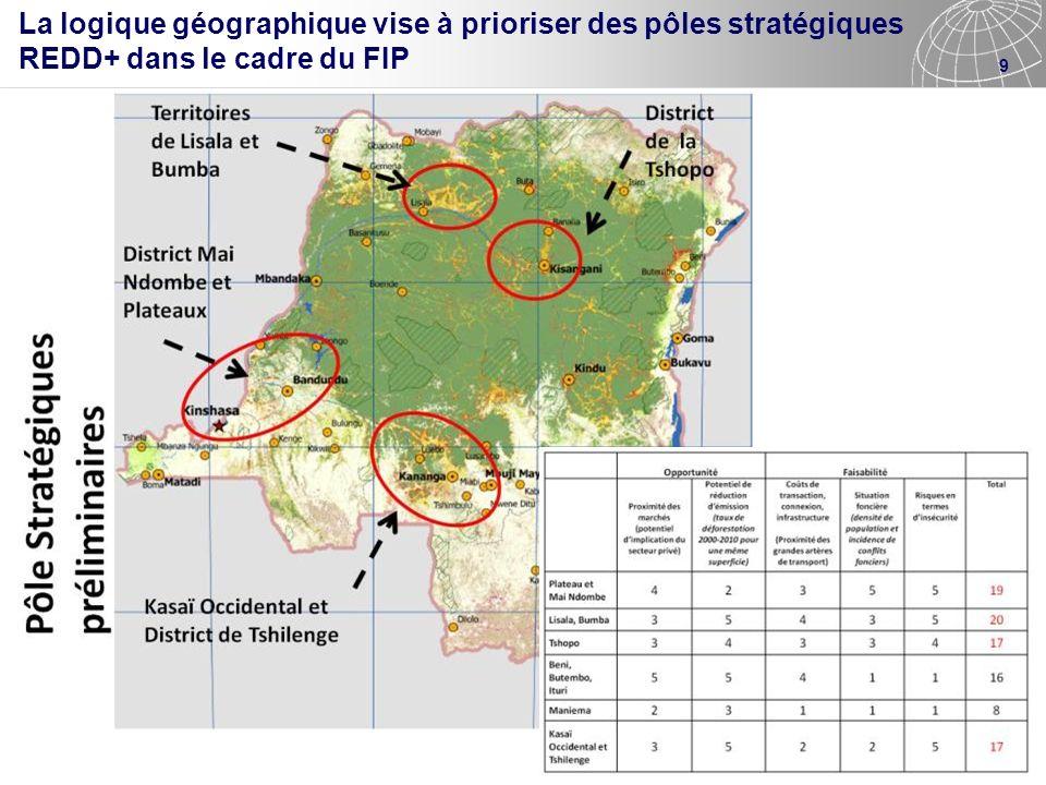 9 La logique géographique vise à prioriser des pôles stratégiques REDD+ dans le cadre du FIP