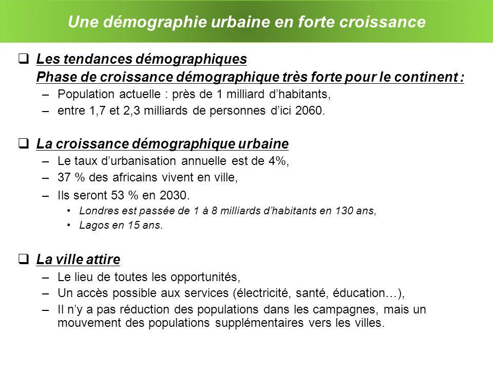 Linfluence de la démographie sur la problématique urbaine et la construction La croissance démographique est plus rapide que : –la croissance des investissements des collectivités locales dans beaucoup de villes, –Le temps nécessaire pour conduire les grands projets durbanisme.