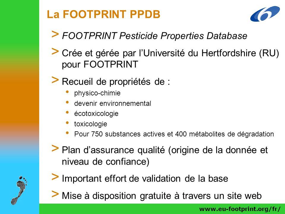 www.eu-footprint.org/fr/ La FOOTPRINT PPDB > FOOTPRINT Pesticide Properties Database > Crée et gérée par lUniversité du Hertfordshire (RU) pour FOOTPR