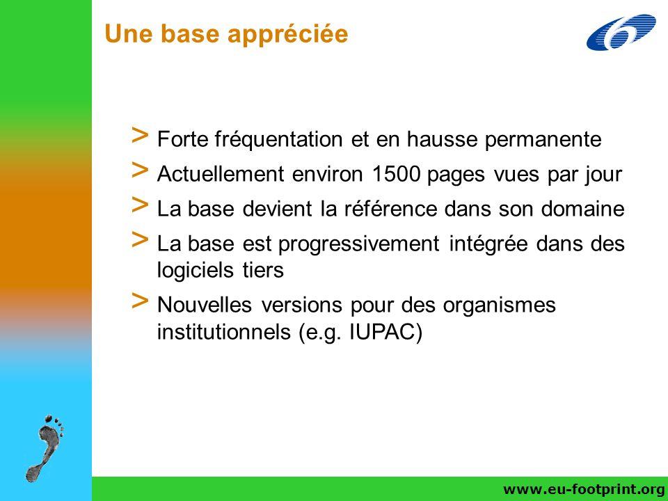 www.eu-footprint.org/fr/ Une base appréciée www.eu-footprint.org > Forte fréquentation et en hausse permanente > Actuellement environ 1500 pages vues