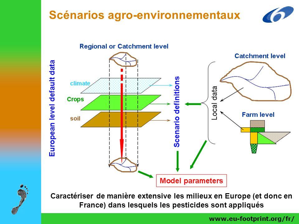 www.eu-footprint.org/fr/ Scénarios agro-environnementaux Caractériser de manière extensive les milieux en Europe (et donc en France) dans lesquels les
