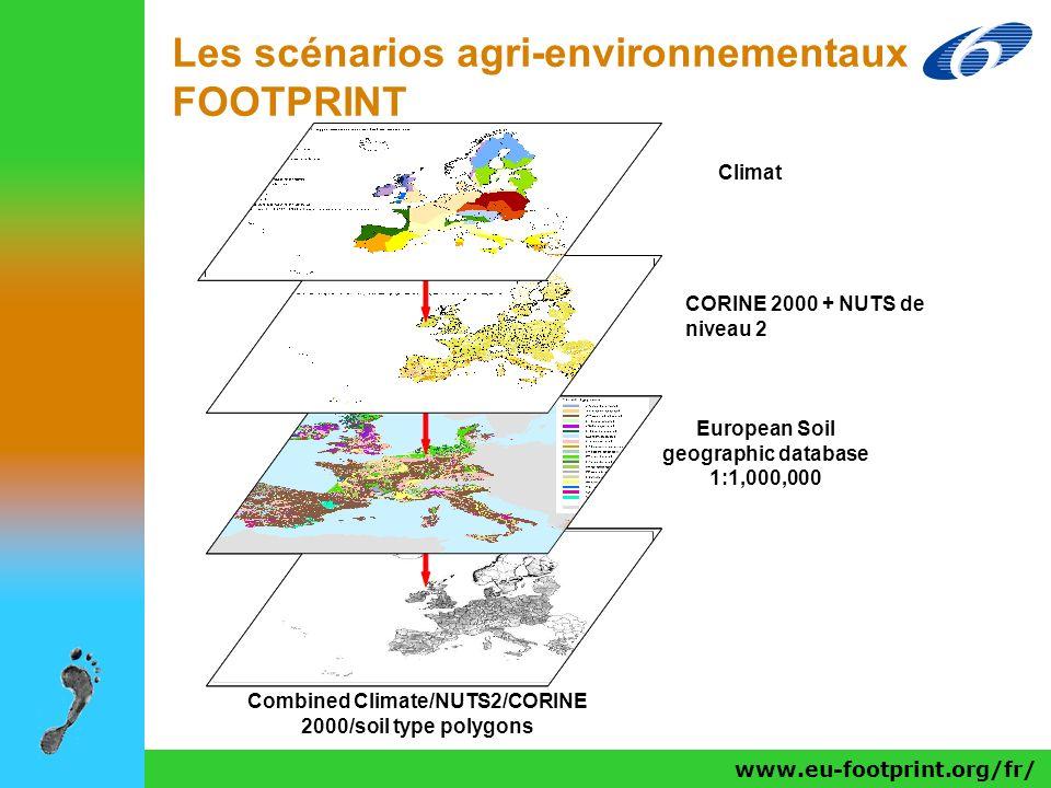 www.eu-footprint.org/fr/ Les scénarios agri-environnementaux FOOTPRINT Climat European Soil geographic database 1:1,000,000 Combined Climate/NUTS2/COR