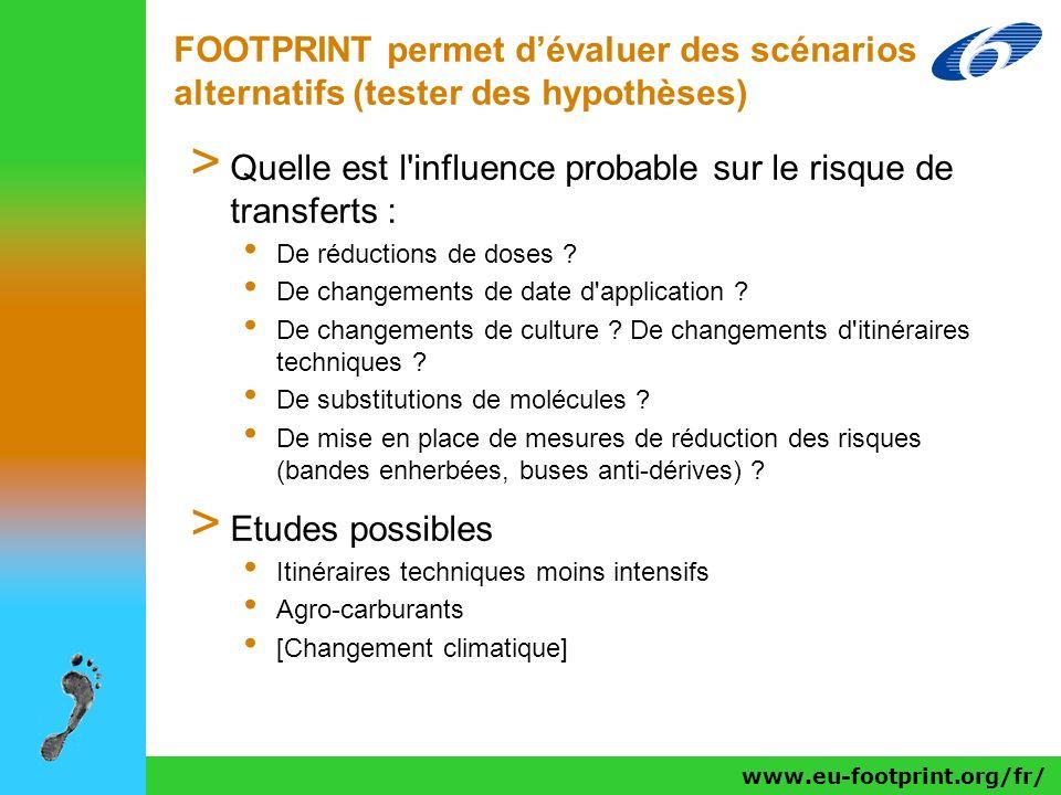 www.eu-footprint.org/fr/ FOOTPRINT permet dévaluer des scénarios alternatifs (tester des hypothèses) > Quelle est l'influence probable sur le risque d