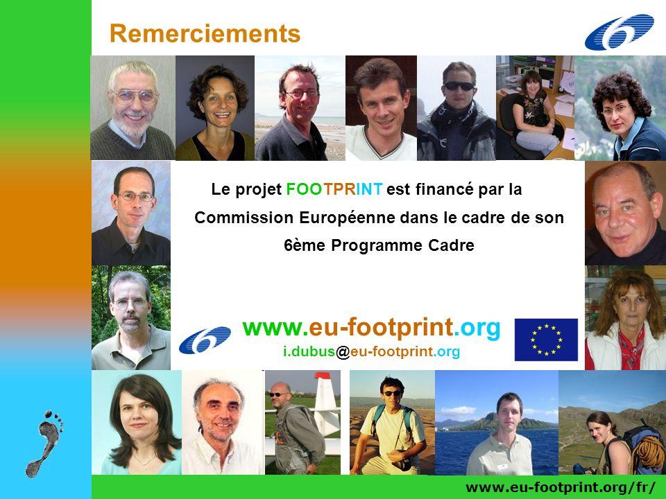 www.eu-footprint.org/fr/ Remerciements Le projet FOOTPRINT est financé par la Commission Européenne dans le cadre de son 6ème Programme Cadre www.eu-f