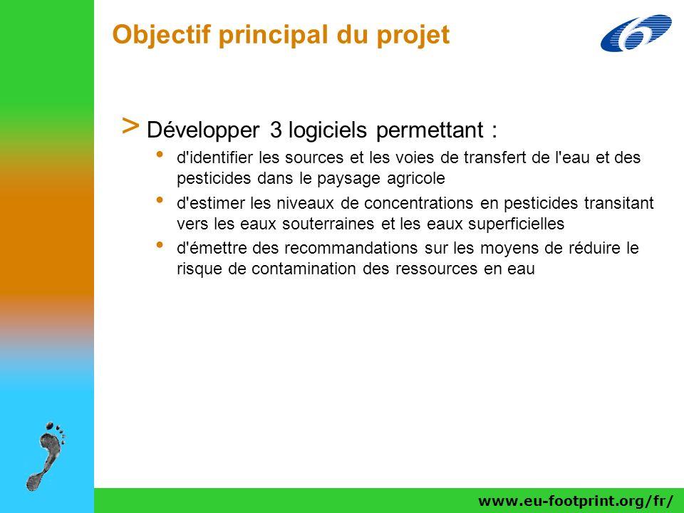 Objectif principal du projet > Développer 3 logiciels permettant : d'identifier les sources et les voies de transfert de l'eau et des pesticides dans