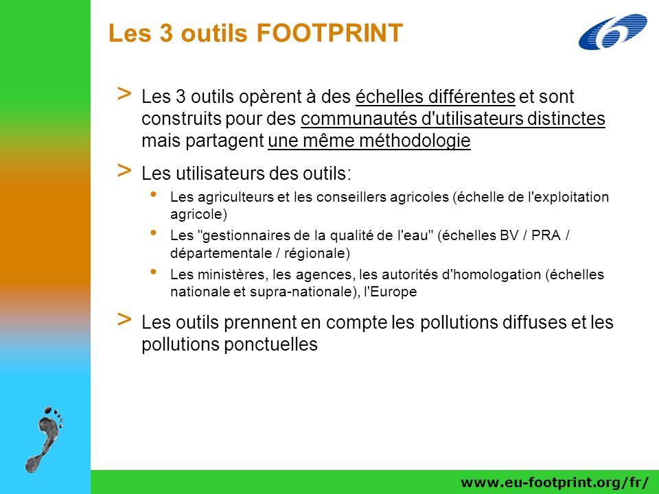 www.eu-footprint.org/fr/ Les 3 outils FOOTPRINT > Les 3 outils opèrent à des échelles différentes et sont construits pour des communautés d'utilisateu