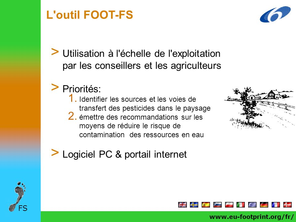 www.eu-footprint.org/fr/ L'outil FOOT-FS FS > Utilisation à l'échelle de l'exploitation par les conseillers et les agriculteurs > Priorités: 1. Identi