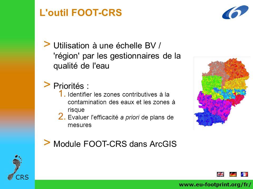L'outil FOOT-CRS CRS > Utilisation à une échelle BV / 'région' par les gestionnaires de la qualité de l'eau > Priorités : 1. Identifier les zones cont