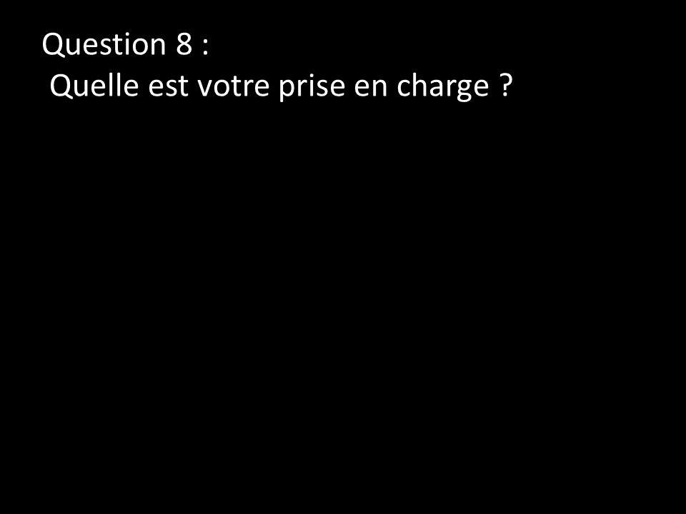 Question 8 : Quelle est votre prise en charge ?