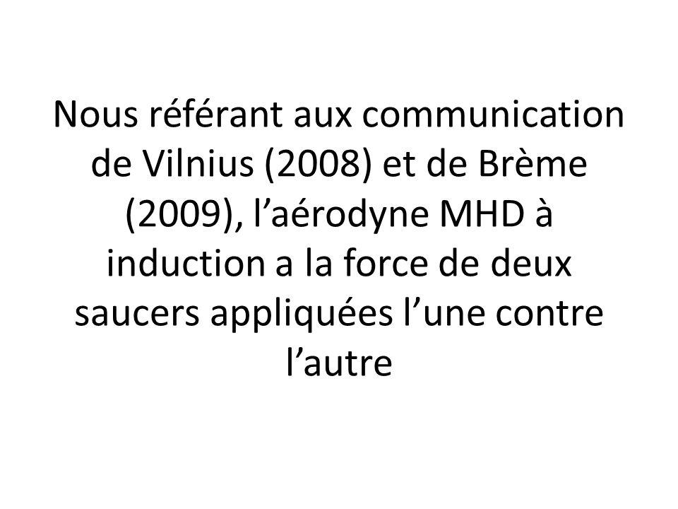 Nous référant aux communication de Vilnius (2008) et de Brème (2009), laérodyne MHD à induction a la force de deux saucers appliquées lune contre laut