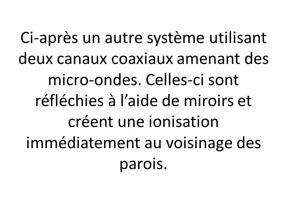 Ci-après un autre système utilisant deux canaux coaxiaux amenant des micro-ondes. Celles-ci sont réfléchies à laide de miroirs et créent une ionisatio