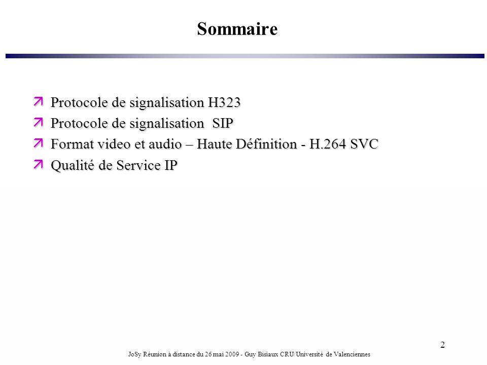 JoSy Réunion à distance du 26 mai 2009 - Guy Bisiaux CRU/Université de Valenciennes 2 Sommaire Protocole de signalisation H323 Protocole de signalisat