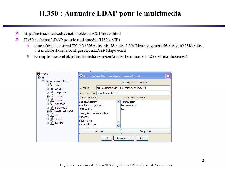 JoSy Réunion à distance du 26 mai 2009 - Guy Bisiaux CRU/Université de Valenciennes 20 H.350 : Annuaire LDAP pour le multimedia http://metric.it.uab.e