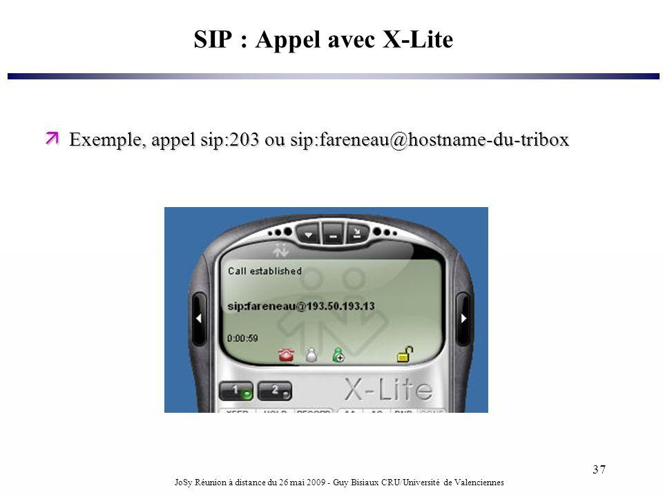 JoSy Réunion à distance du 26 mai 2009 - Guy Bisiaux CRU/Université de Valenciennes 37 SIP : Appel avec X-Lite Exemple, appel sip:203 ou sip:fareneau@