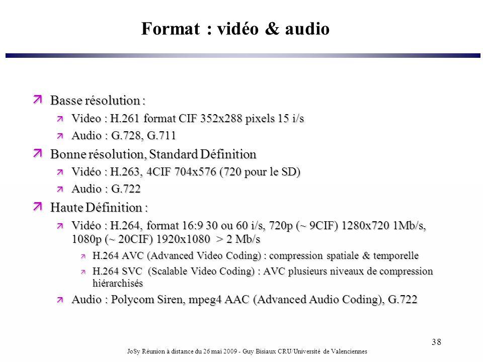 JoSy Réunion à distance du 26 mai 2009 - Guy Bisiaux CRU/Université de Valenciennes 38 Format : vidéo & audio Basse résolution : Basse résolution : Vi