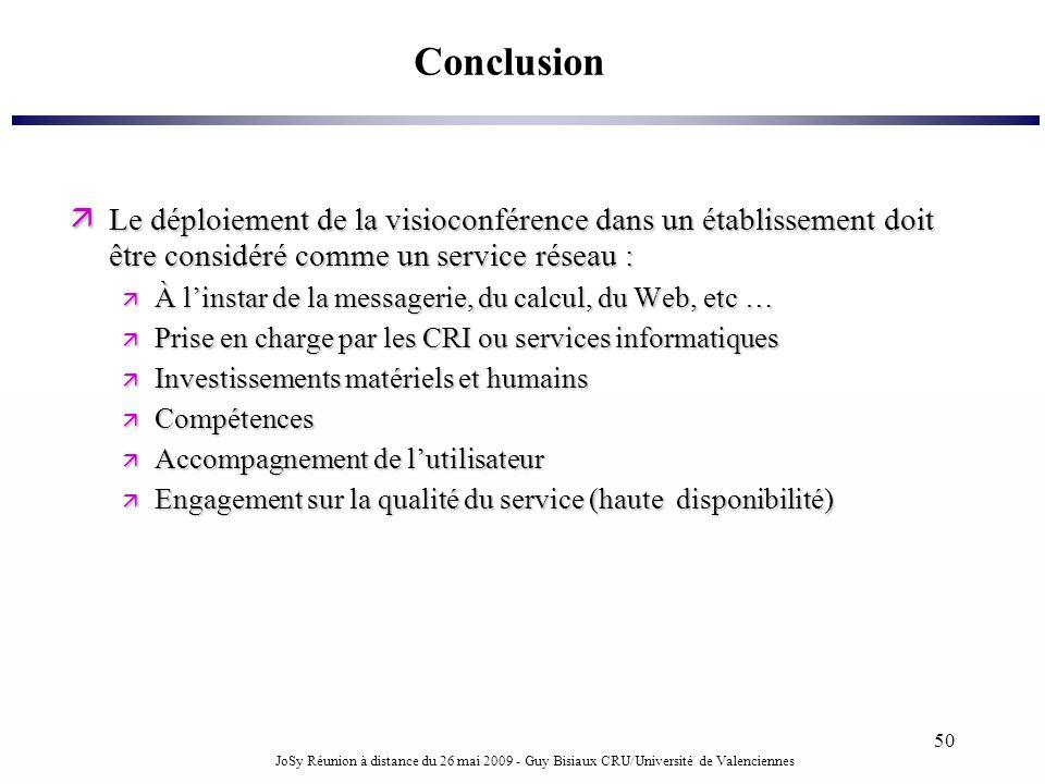 JoSy Réunion à distance du 26 mai 2009 - Guy Bisiaux CRU/Université de Valenciennes 50 Conclusion Le déploiement de la visioconférence dans un établis