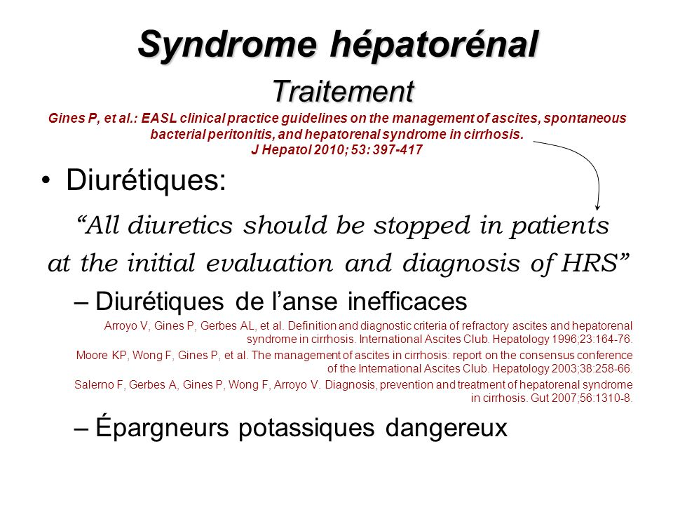 Syndrome hépatorénal Traitement Syndrome hépatorénal Traitement Gines P, et al.: EASL clinical practice guidelines on the management of ascites, spont