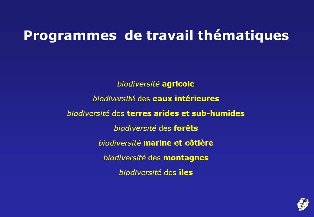 Programmes de travail thématiques biodiversité agricole biodiversité des eaux intérieures biodiversité des terres arides et sub-humides biodiversité d