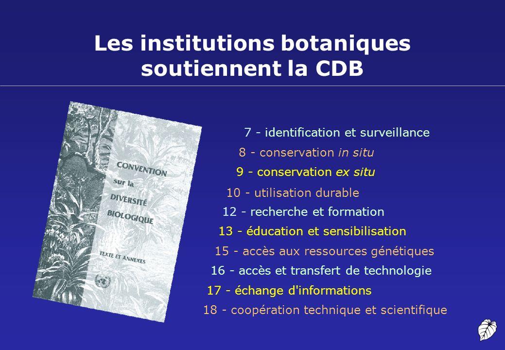 Les institutions botaniques soutiennent la CDB 7 - identification et surveillance 8 - conservation in situ 9 - conservation ex situ 10 - utilisation d
