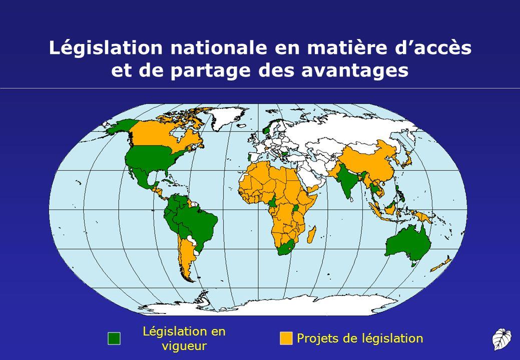 Législation nationale en matière daccès et de partage des avantages Législation en vigueur Projets de législation
