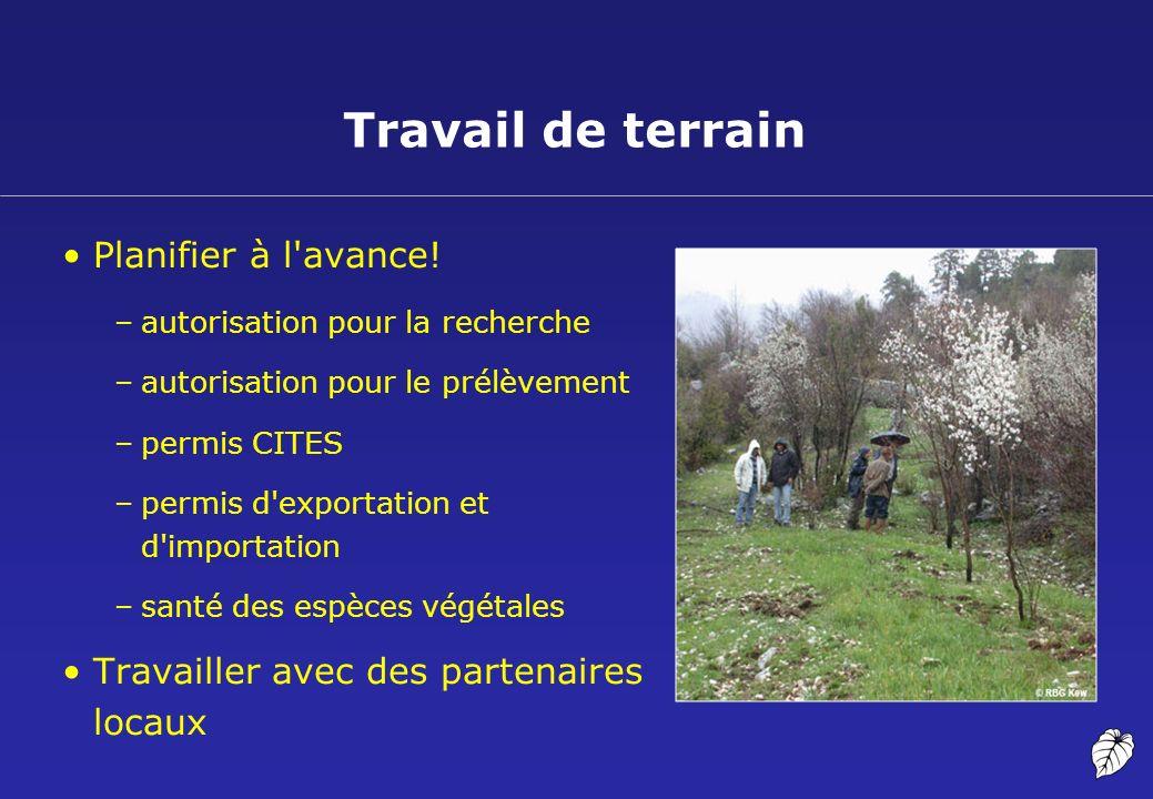 Travail de terrain Planifier à l'avance! –autorisation pour la recherche –autorisation pour le prélèvement –permis CITES –permis d'exportation et d'im