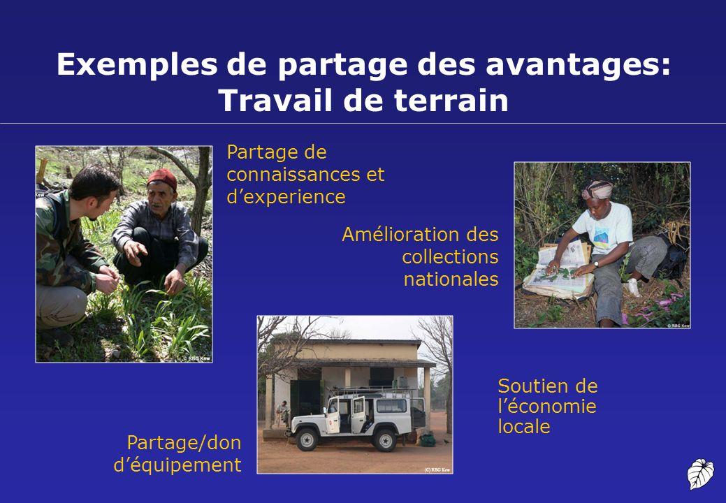 Exemples de partage des avantages: Travail de terrain Partage de connaissances et dexperience Amélioration des collections nationales Partage/don déqu