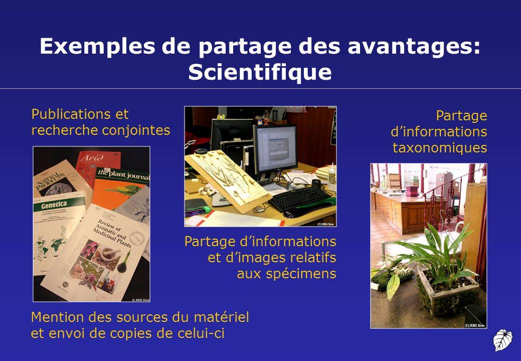 Exemples de partage des avantages: Scientifique Publications et recherche conjointes Partage dinformations taxonomiques Mention des sources du matérie