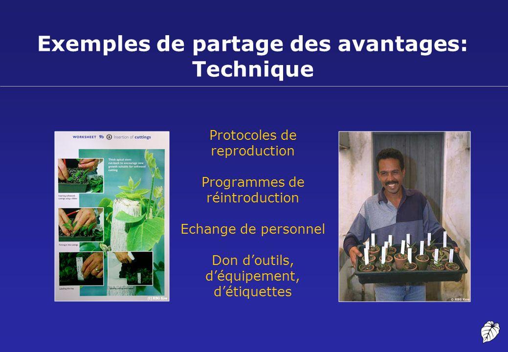 Exemples de partage des avantages: Technique Protocoles de reproduction Programmes de réintroduction Echange de personnel Don doutils, déquipement, dé