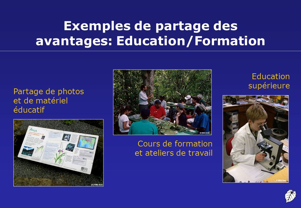 Exemples de partage des avantages: Education/Formation Cours de formation et ateliers de travail Education supérieure Partage de photos et de matériel