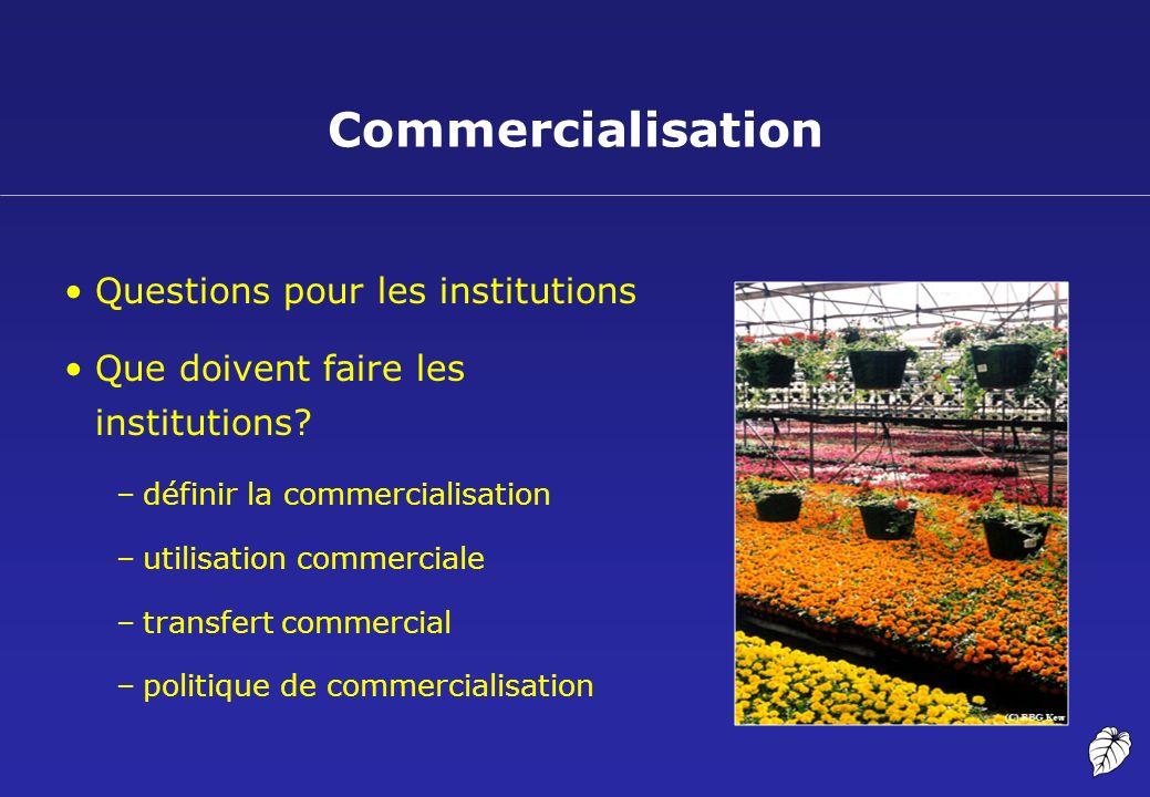 Commercialisation Questions pour les institutions Que doivent faire les institutions? –définir la commercialisation –utilisation commerciale –transfer